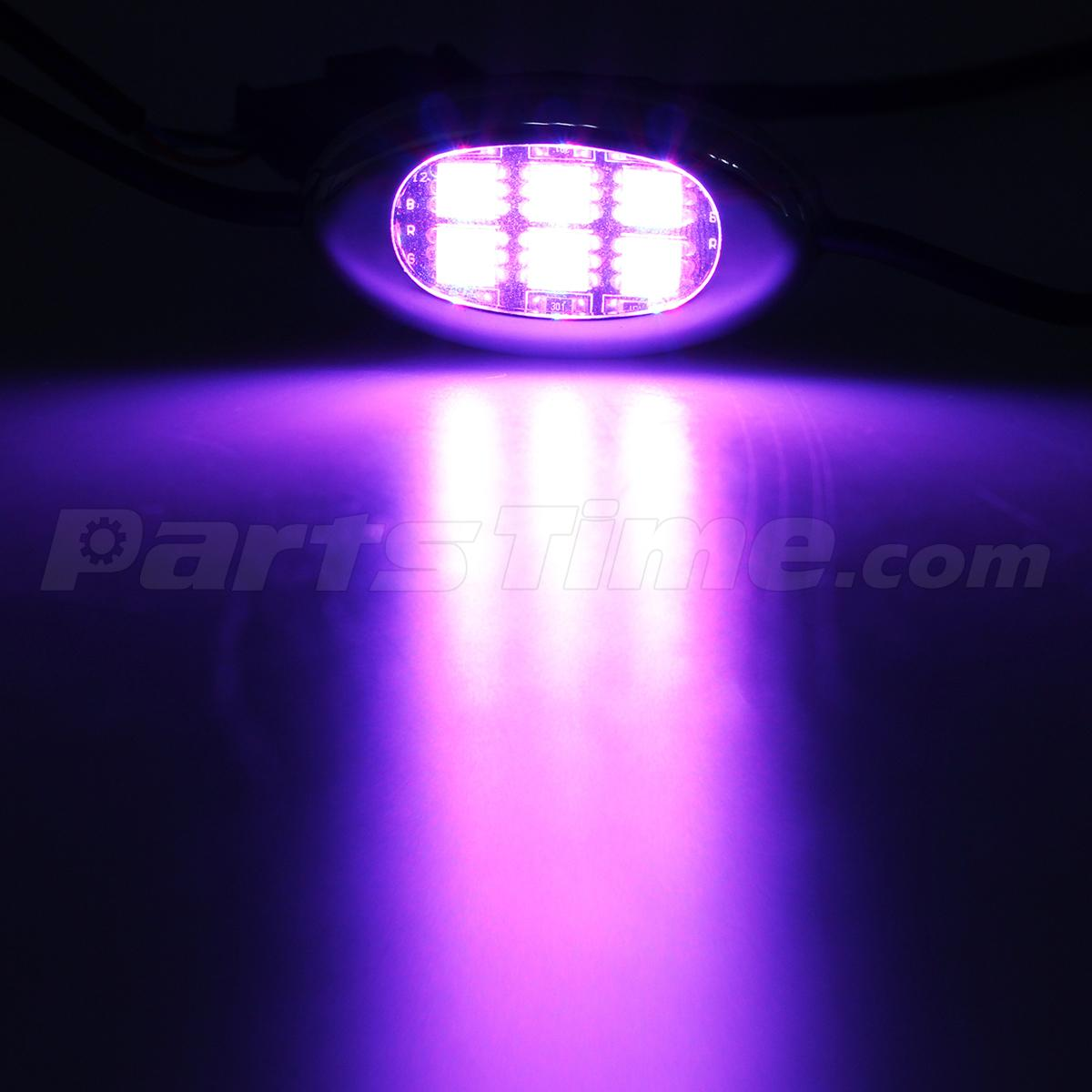 Purple 6 pod motorcycle 36 led underglow neon accent bike lighting kit w switch - Underglow neon ...